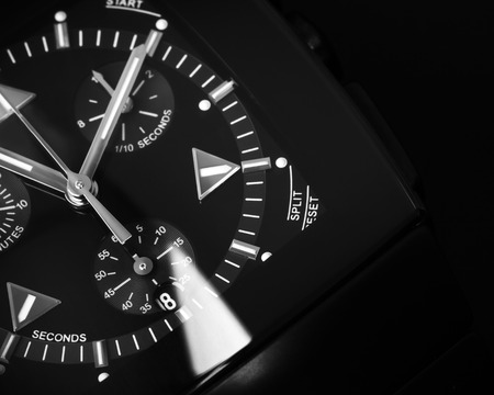 Photo pour Luxury mens Chronograph Watch made of black high-tech ceramics with sapphire glass. Close-up studio photo with selective focus - image libre de droit