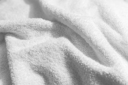 Foto de White natural cotton towel  background photo with selective focus - Imagen libre de derechos