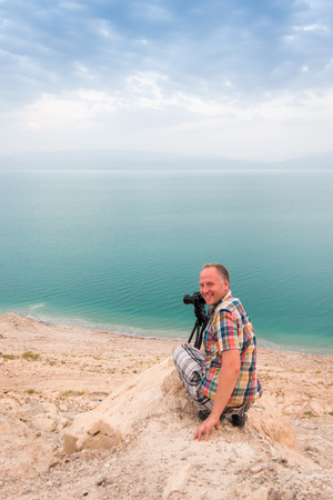 Photographing at Dead Sea coast, Israel, Middle East