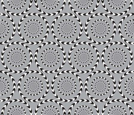 Illustration pour Optical Illusion, Vector Seamless Pattern Background, Circles Rotates Slowly. - image libre de droit