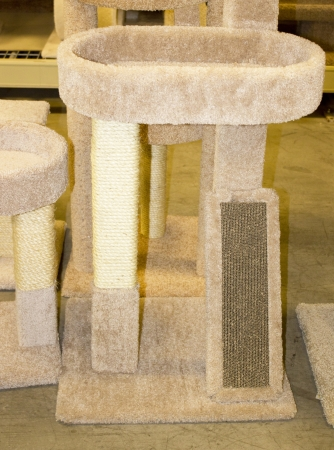 Corrugated scratcher and sisal rope scratching post as a part of cat tree; pet store, AZ