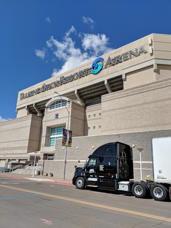 Foto per Phoenix, AZ, USA - FEBRUARY 28, 2018: ''Concert Logistique'' truck from Canadian city of Quebec parked near Talking Stick Resort Arena along Jackson street after delivering props for a next show in Phoenix, Arizona - Immagine Royalty Free