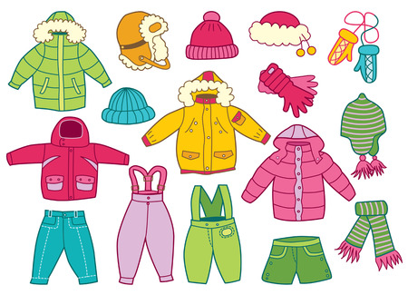 Illustration for collection of winter children clothes - Royalty Free Image