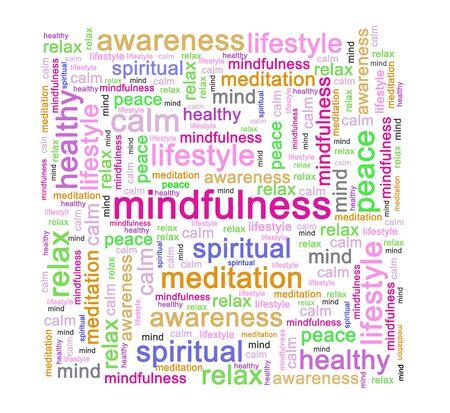 Photo pour Mindfulness word cluod or word tag - image libre de droit