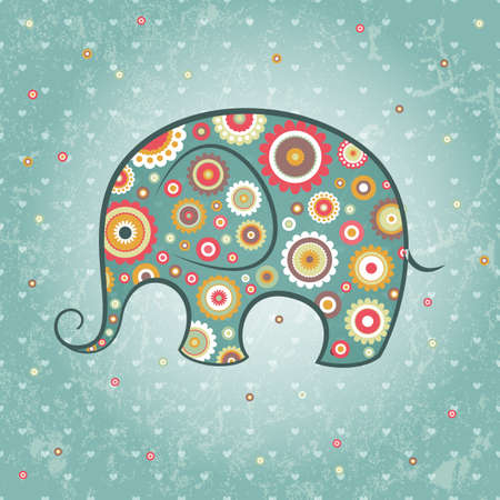 Abstract floral elephant on grunge backdrop,