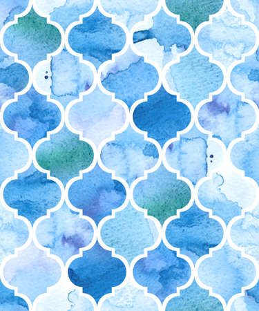 Illustration pour Watercolour moroccan background. Seamless vector pattern. - image libre de droit