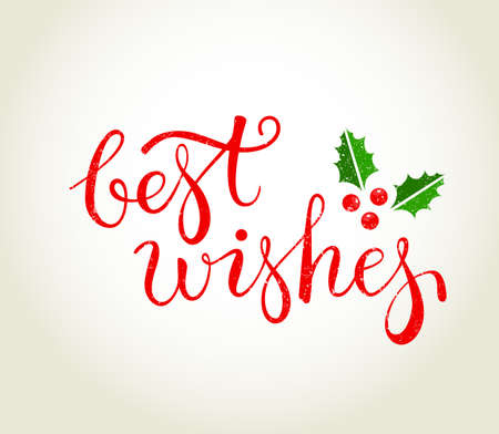 Best Wishes text with holly leaves - Christmas greeting card.   EPS10 vector illustration.