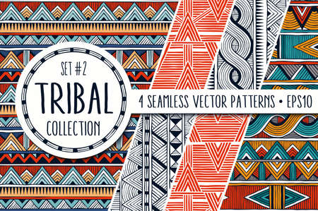 Illustration for Colorful ethnic patterns collection. Set of 4 modern abstract seamless ornaments. - Royalty Free Image