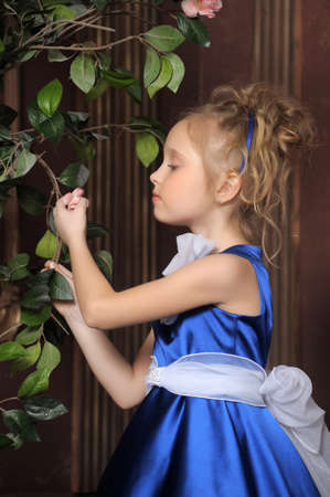Little Girl Looks Like A Small Princess In Beautiful Blue Dress