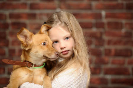 girl with red puppy