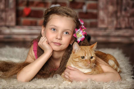 girl with a red cat