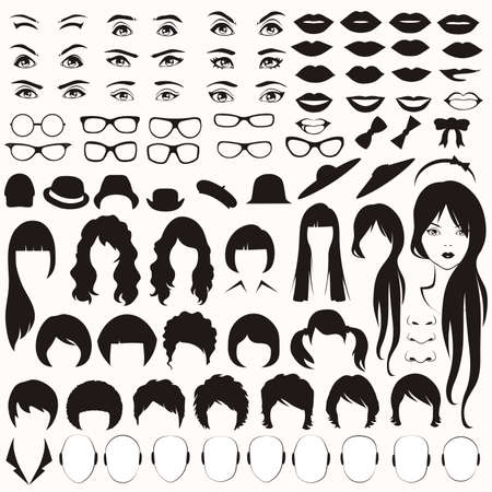 Illustration pour  eye, glasses, hat, lips and hair, woman face parts, head character - image libre de droit