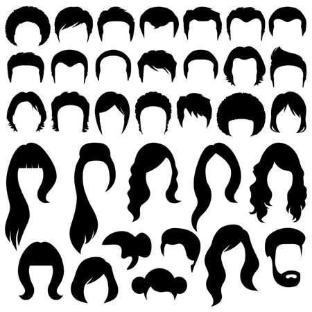 Ilustración de hair silhouettes, woman and man hairstyle - Imagen libre de derechos