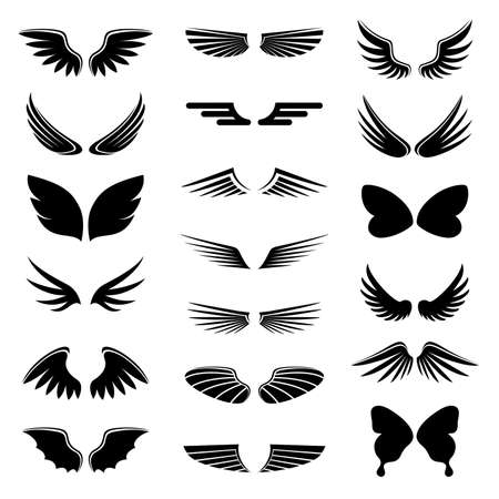 Illustration for vector set angel and bird wings, icon silhouette illustration - Royalty Free Image