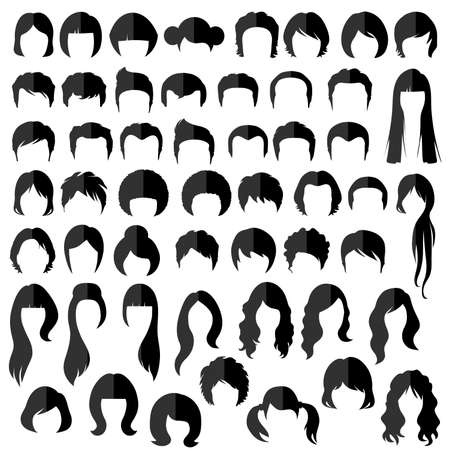 Illustration for woman nad man hair, vector hairstyle silhouette - Royalty Free Image