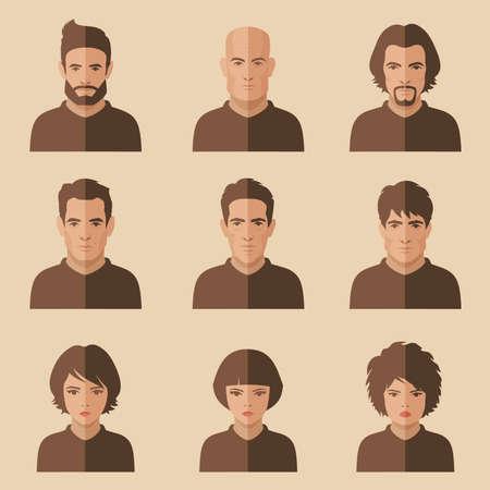 Illustrazione per vector flat people face, avatar icon, cartoon character - Immagini Royalty Free