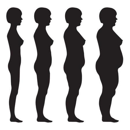 Illustrazione per vector fat body, weight loss, overweight silhouette illustration - Immagini Royalty Free