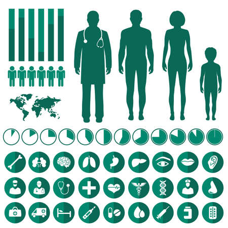 Illustration for vector medical infographic, human body anatomy, health vector icons - Royalty Free Image