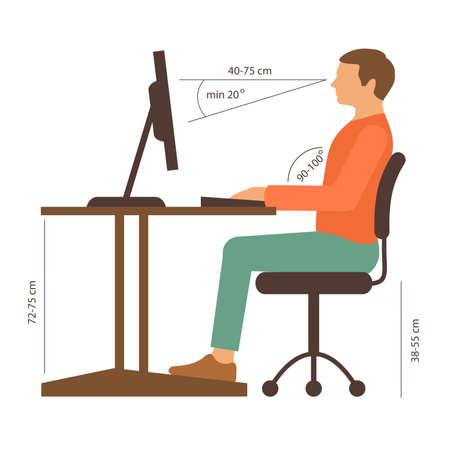 Illustration for correct back position, vector illustration right person posture - Royalty Free Image