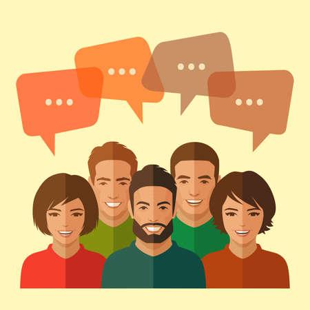 Ilustración de smile people group, business team, chat dialogue - Imagen libre de derechos
