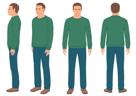 Illustration pour Fashion man isolated, front, back and side view, vector illustration - image libre de droit