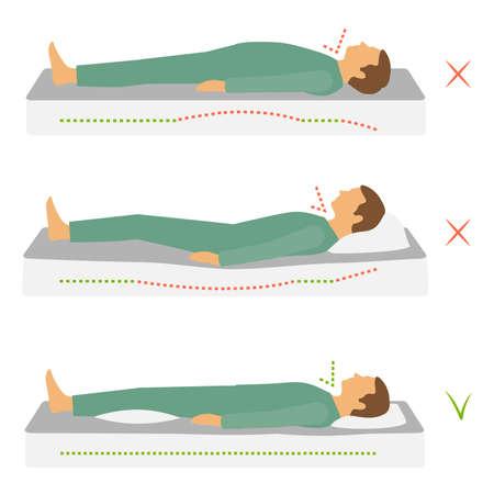 Illustrazione per Sleep correct health body position, spine neck pain, - Immagini Royalty Free