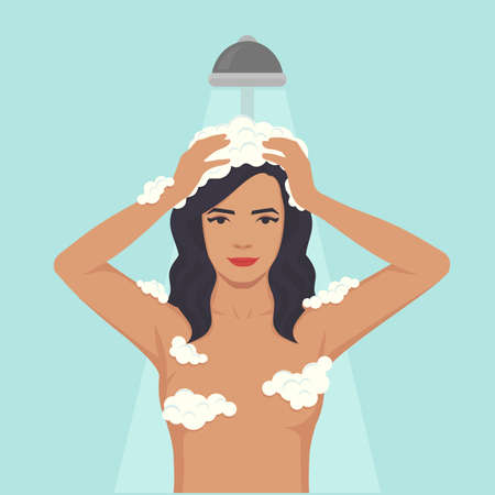 Ilustración de vector illustration of a woman washing head, hair hygiene, shower in bathroom - Imagen libre de derechos