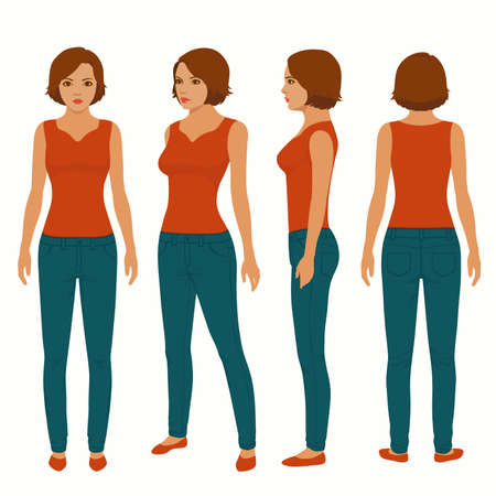 Illustration for Fashion woman isolated, front, back view, vector illustration - Royalty Free Image