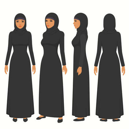 muslim woman illustration, vector girl character, saudi cartoon female, front, side and back view
