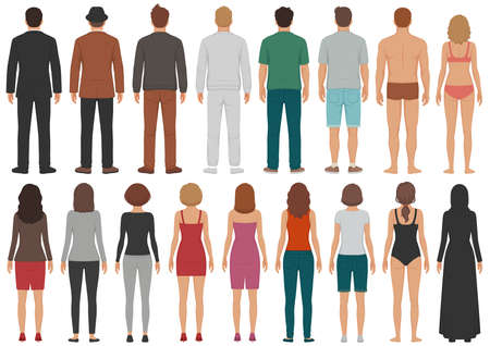 Illustration pour vector illustration of group of people, man, woman, standing, business isolated person - image libre de droit