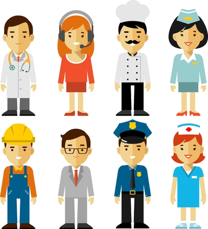Illustration pour Different people professions characters set - image libre de droit