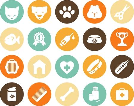 Ilustración de Veterinary round icons in flat style - Imagen libre de derechos