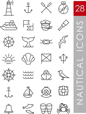 Illustration pour Set of nautical icons and design elements in vintage line style - image libre de droit