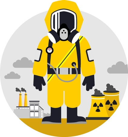 Illustrazione per Man in protective suit and gas mask on pollution background - Immagini Royalty Free