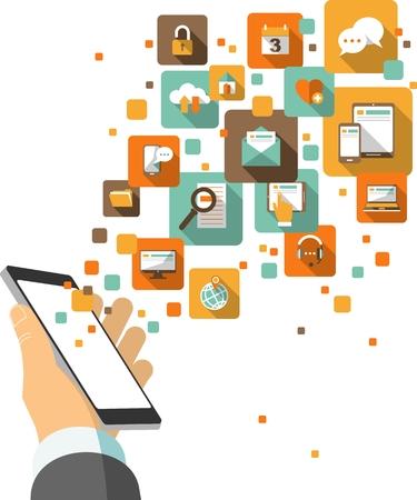 Illustration pour Hand hold smartphone with application social, media, web icons - image libre de droit