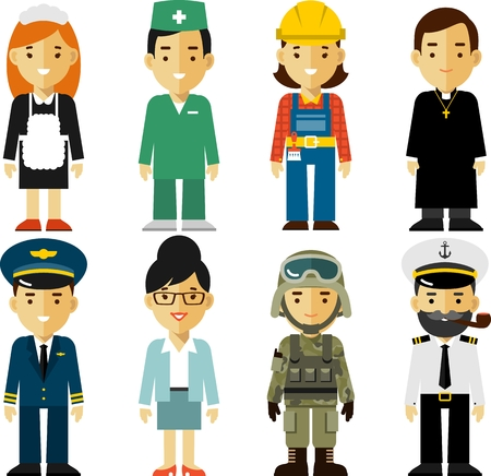 Illustration pour Different people professions characters in flat style - image libre de droit