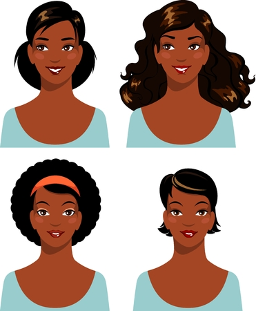 Illustration pour African american young beautiful woman faces isolated on white background - image libre de droit