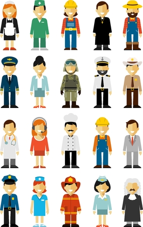 Illustration pour Different people professions characters isolated on white background - image libre de droit