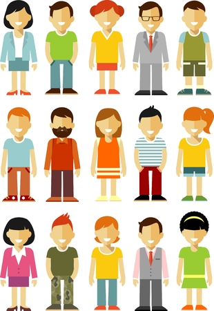 Illustration for Different people smiling characters isolated on white background - Royalty Free Image