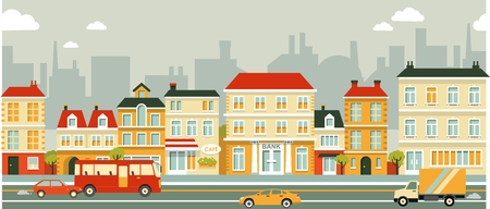 Illustration pour Town panoramic cityscape seamless background in flat style - image libre de droit