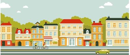 Ilustración de Town panoramic cityscape seamless background in flat style - Imagen libre de derechos