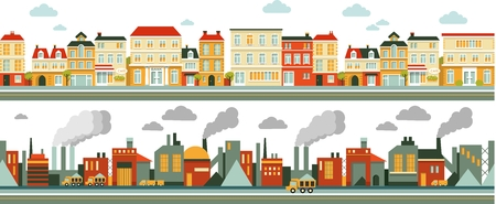 Illustration pour Town and industrial factory panoramic seamless background in flat style - image libre de droit