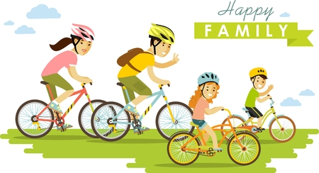 Illustration pour Family on bikes father, mother and kids - image libre de droit
