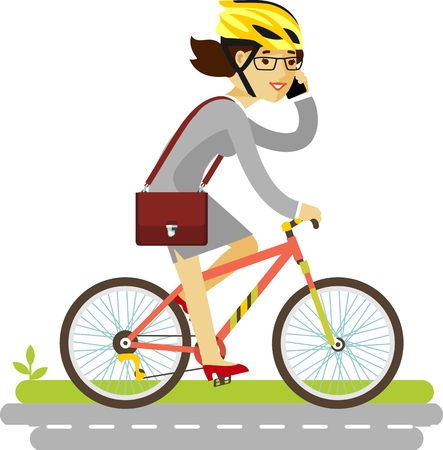 Illustration pour Young businesswoman with briefcase and smartphone riding a bike - image libre de droit