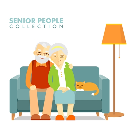 Illustration for Happy senior man woman family sitting on the sofa and rest - Royalty Free Image
