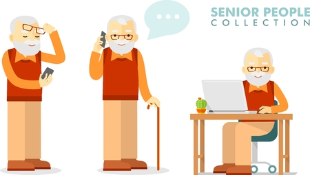 Illustration for Set of senior man with smartphone and laptop networking - Royalty Free Image