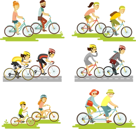 Illustration pour Cyclist man, woman, children, hipster, older, racing cyclist on bike and tandem - image libre de droit