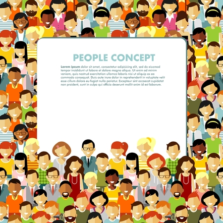 Illustrazione per Group of different people in community and banner with empty space for your text - Immagini Royalty Free