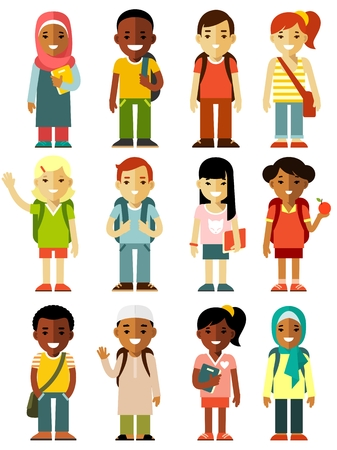 Illustration pour Multicultural school kids group isolated on white background - image libre de droit