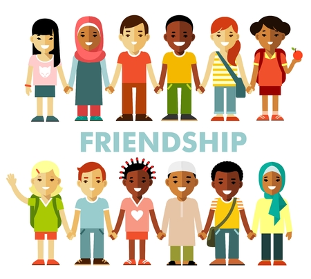 Illustration for Multicultural kids group standing in row together, isolated on white background - Royalty Free Image